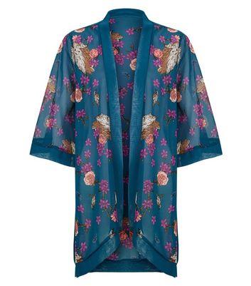 Mela Blue Floral Print Kimono New Look