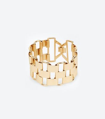 Gold Chunky Link Wide Bracelet New Look