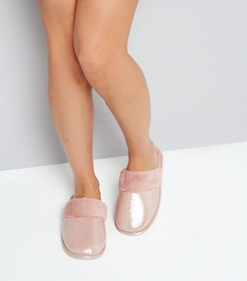 pink-shimmer-faux-fur-mule-slippers