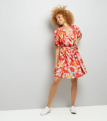 Tall Red Floral Print Wrap Front Dress New Look
