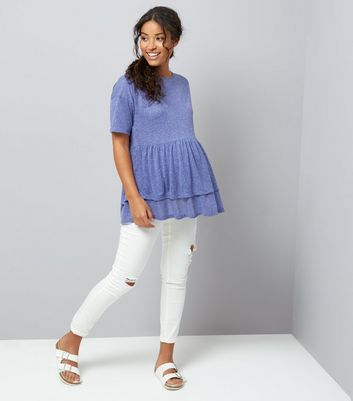 Maternity Blue Double Peplum Hem T-Shirt New Look