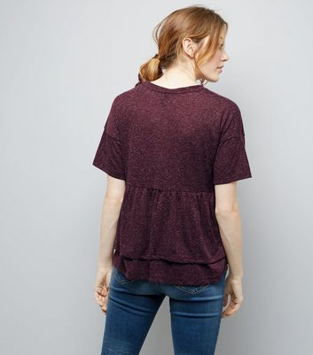 Maternity Burgundy Double Peplum Hem T-Shirt New Look