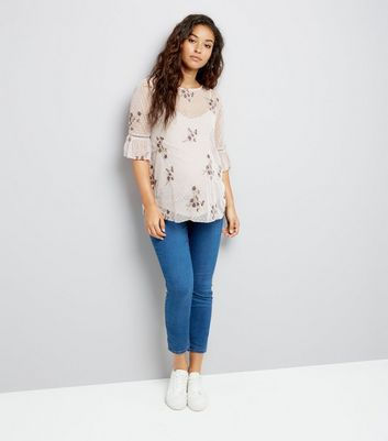 Maternity Cream Floral Embroidered Mesh Flute Sleeve Top New Look