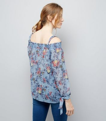 Maternity Blue Floral Print Shirred Cold Shoulder Top New Look