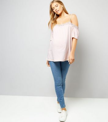 Maternity Shell Pink Crochet Trim Cold Shoulder Top New Look