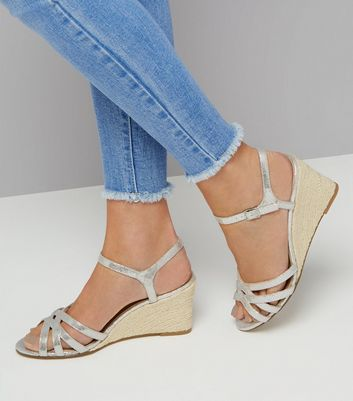 Silver Shimmer Strappy Wedges New Look