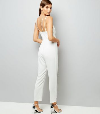 Cream Strappy Tapered Leg Jumpsuit New Look