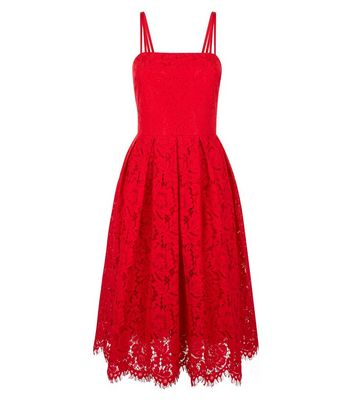 Red Premium Strappy Lace Dress New Look