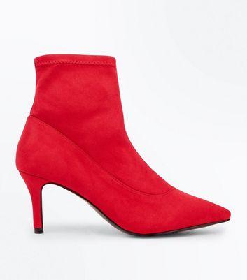 Red Suedette Kitten Heel Sock Boots