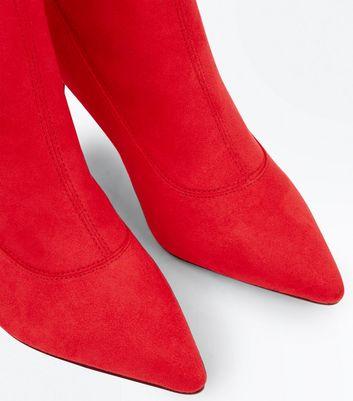 Red Suedette Kitten Heel Sock Boots New Look
