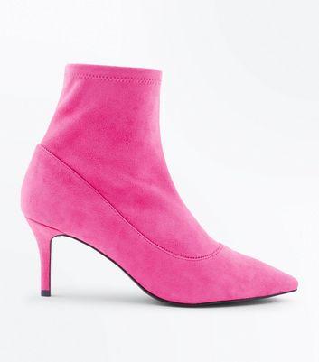 Bright Pink Suedette Kitten Heel Sock Boots New Look