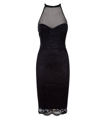 Black Floral Lace High Neck Bodycon Dress New Look