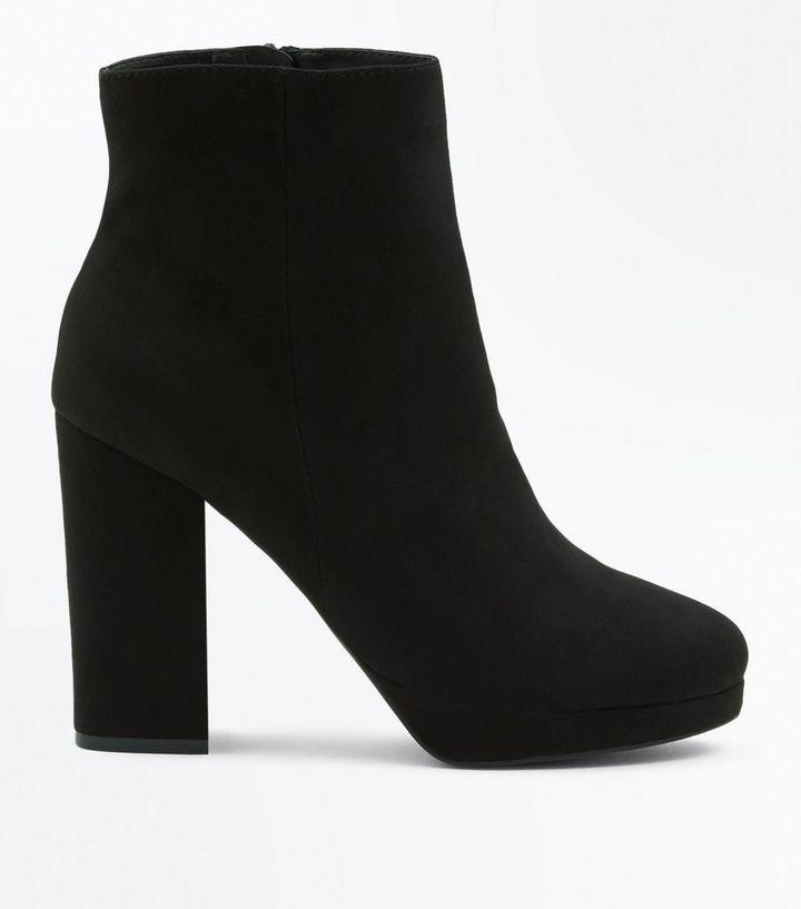 fb7fa23c8483 Black Suedette Platform Block Heel Boots