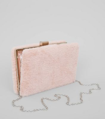 Pink Faux Fur Clutch Bag New Look