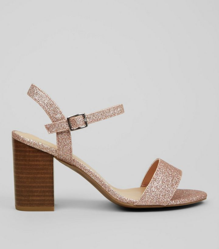 f3850ffd83 Wide Fit Rose Gold Glitter Heeled Sandals | New Look