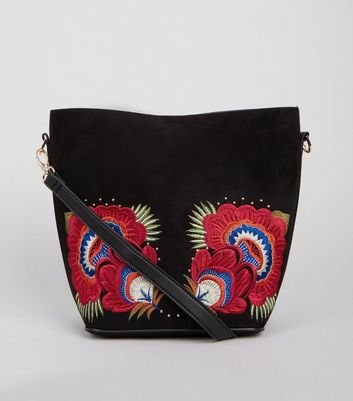 Black Floral Embroidered Bucket Bag New Look