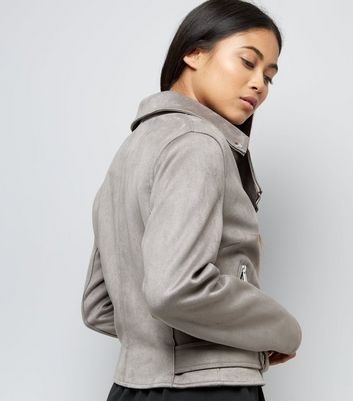 Petite Grey Suedette Biker Jacket New Look