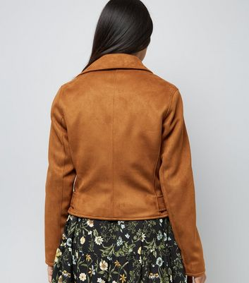 Petite Tan Suedette Biker Jacket New Look