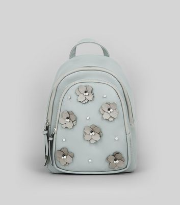 Pale Grey Floral Embellished Mini Backpack New Look