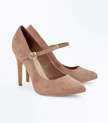 Wide Fit Brown Suedette Mary Jane Court Shoes New Look