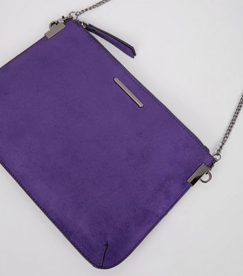 Purple Suedette Curve Flat Clutch New Look