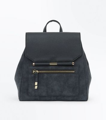 Grey Contrast Metal Bar Backpack New Look