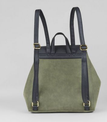 Khaki Contrast Metal Bar Backpack New Look