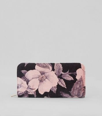 Pink Floral Print Velvet Zip Around Purse New Look