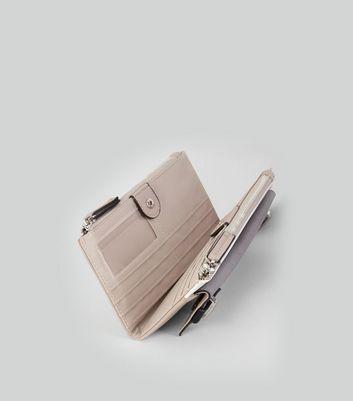 Cream Colour Block Double Zip Top Purse New Look