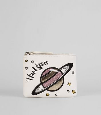 White 'I Need Space' Coin Purse New Look