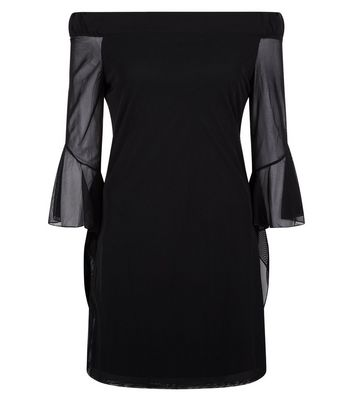 Blue Vanilla Black Frill Mesh Sleeve Dress New Look
