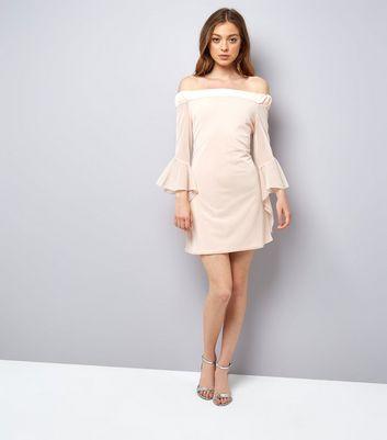 Blue Vanilla Shell Pink Frill Mesh Sleeve Dress New Look