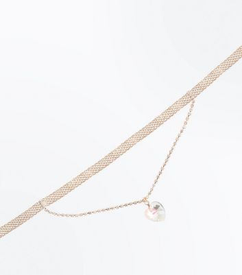 Rose Gold Iridescent Heart Choker New Look