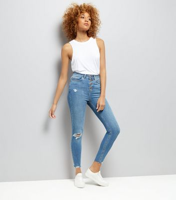Blue High Waist  Ripped Skinny Yazmin Jeans New Look