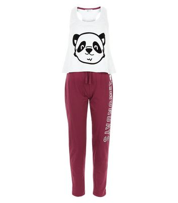 Teens Burgundy Can't Bear Mondays Pyjama Set New Look