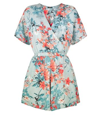 Tall Green Floral Print Wrap Front Playsuit New Look