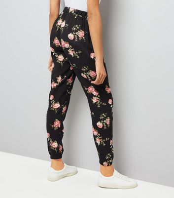 Tall Black Floral Print Joggers New Look