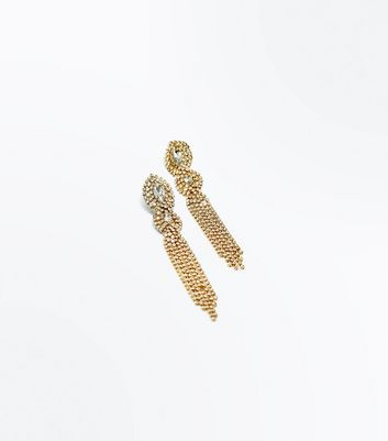 Gold Gem Diamante Chains Earrings New Look
