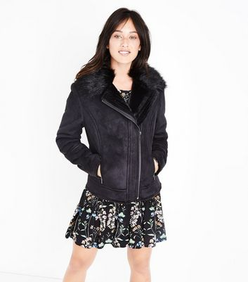 Tall Black Suedette Faux Fur Lined Aviator Jacket