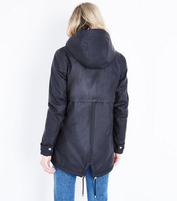 Tall Black Borg Lined Anorak New Look