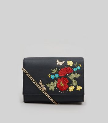Black Floral Embroidered Cross Body Bag New Look