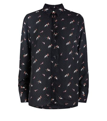 Tall Black Polka Dot Bird Print Shirt New Look