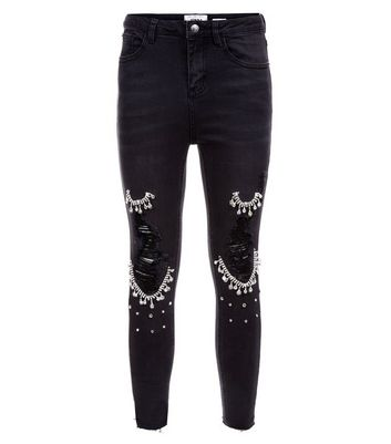 Petite Black Gem Chain Embellished Ripped Skinny Jeans New Look