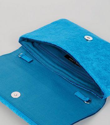 Blue Velvet Embossed Clutch New Look