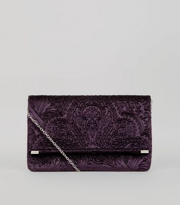Purple Baroque Embossed Velvet Clutch Bag New Look