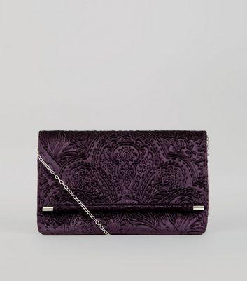 Purple Baroque Embossed Velvet Clutch Bag New Look