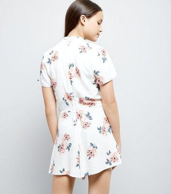 Teens White Floral Print Choker Playsuit New Look