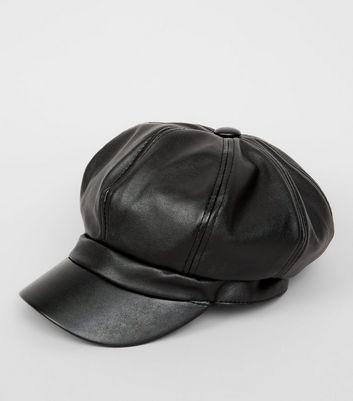 Black Leather Look Baker Boy Hat New Look