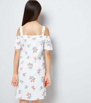 Teens Blue Floral Print Cold Shoulder Dress New Look