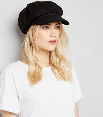 Black Felt Baker Boy Hat New Look